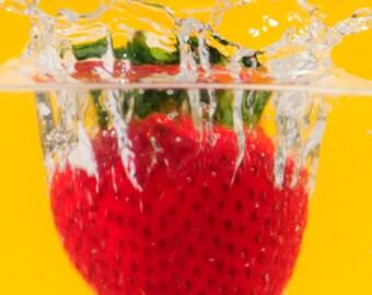Strawberry Splash, wall art, photography, Red & yellow