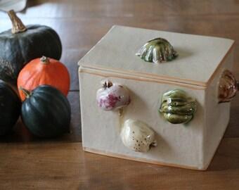 Box ceramic storage or decorative , handmade