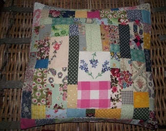 Beautiful Patchwork Cushion cover with Vintage embroidery