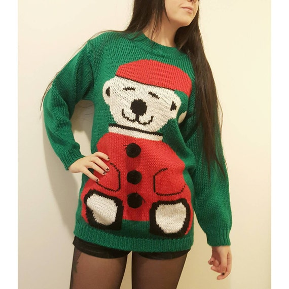 80s Christmas Sweater Small Bear Sweater - Green Holiday Ugly Christmas Sweater Top - Medium Xmas Stuffed Animal Holiday Winter Top
