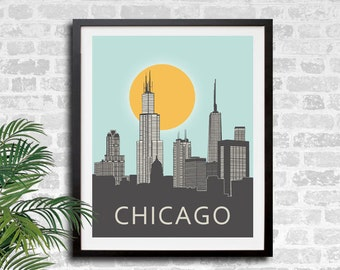 Chicago Skyline Print, Windy City Poster Print,