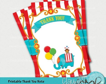 Circus Party Inspired Printable Thank You Card / Note - 300 DPI