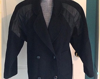 Vintage Coat 80s Leather & Wool Long Winter Suede Collar Trenz sz 4 1980s