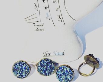 Blue Faux Druzy Ring