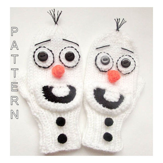 Knitting Pattern For Olaf The Snowman : Knitting Pattern Olaf Mittens Frozen Mittens by ...