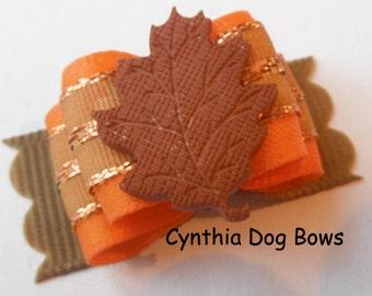 Dog Bow 5/8-  Thanksgiving/Autumn/Fall Leaf