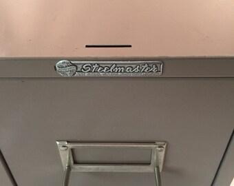 Vintage Steelmaster Industrial File Drawer/Cabinet, Dark Tan