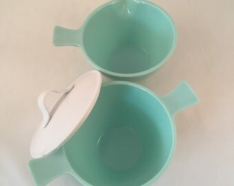 Sun Valley Melmac Cream and Sugar Set, Turquoise and White, Made in USA