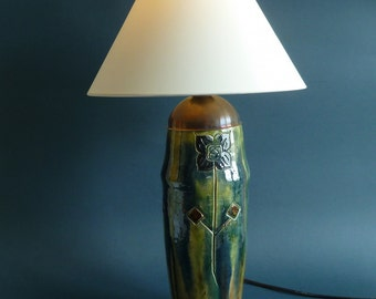 art deco table lamp-vase