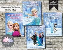 Frozen Valentines Cards / Personalized Valentines / Kids Valentines / Custom Valentine Card / Disney Frozen / Instant Download / Printable