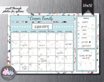 Perpetual Dry Erase Magnetic Personalized Family Calendar / Dry Erase Calendar for Fridge or Wall / Custom Calendar w Dry Erase Marker