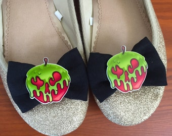 Poison Apple inspired Black Microsuede Shoe Bows, Shoe Clips