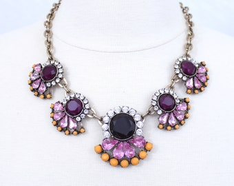 Purple Crystal Fan Necklace Fuchsia Rhinestone Bib Necklace Purple and Mustard Statement Necklace