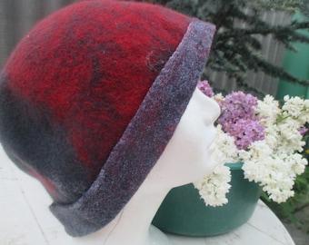 Felted Hat Cloche ,Cloche wool hat retro Шляпа клош из шерсти. Войлочная шляпа.