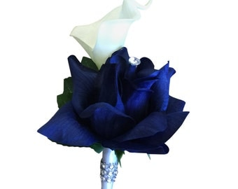 Boutonniere:Royal blue roses with real touch calla lily and bling
