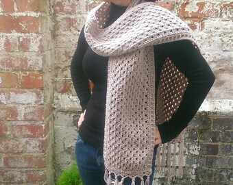 Long scarf . Crochet scarf . Beige scarf with tassels , Scarf with  fringes , Festival scarf