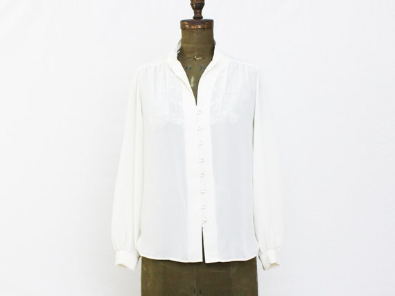 Embroidered Sheer Ivory Blouse - Vintage 1970s Pleated Secretary Blouse