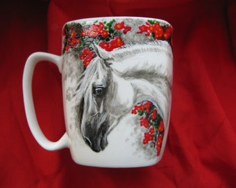 Hand painted cup with andalusian horse, original