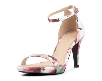 Red Floral Print Heels, Black Floral Strappy Heels,Black Strappy Floral Print Heels, Summer Heels