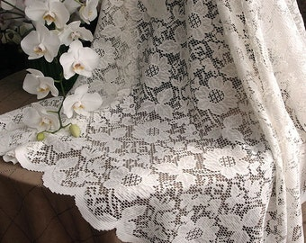 Ivory floral lace square table overlay, wedding lace overlay