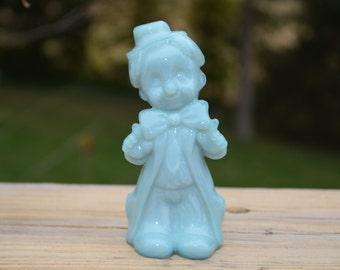Vintage Boyds  Blue Slag Glass Clown Figurine