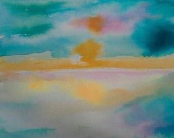 Sale Original watercolor Painting, abstract, sun set, landscape