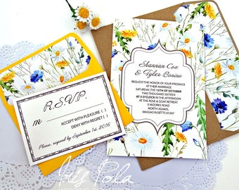 Wedding, Wild Flowers, Invitation Set, Lined Envelopes, RSVP, Yellow, Blue, Green, ECO, Recycled, Brown Kraft Paper