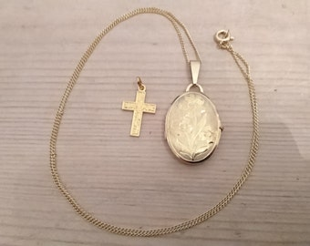 Vintage rolled gold cross and locket with chain