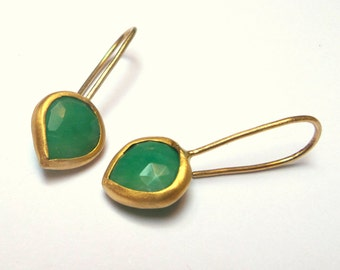 Aventurine Earrings - Gold Earrings - 22K Solid Gold Earrings - Free Shipping!!!