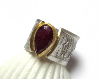 Ruby Ring - Gold Ring - Sterling Silver Ring - Egyptian Ring - Gemstone ring - Free Shipping!!!