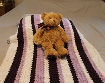 Hand crochet baby blanket plum, lavendar and white stripes 34 x 34
