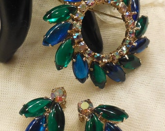 Vintage Green and Blue Cabochon and AB Rhinestone Brooch and Earrings