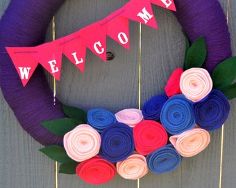 Purple Welcome Yarn Wreath // Front Door Decor Ideas  // Mother's Day Gift // Purple and Blue Felt Flowers // Gift for Her // 14 Inch