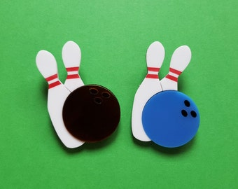 Lucky Strike Bowling Pin and Ball Brooch