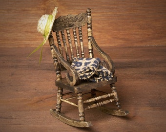 Miniature Wooden Rocking Chair for Your Dollhouse