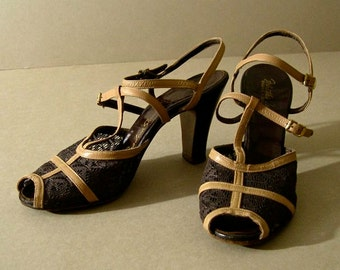 """Women's vintage shoes, 1950's, high heeled sandals, brown lace, tan """"T"""" and ankle straps, open toe, size 7 medium."""
