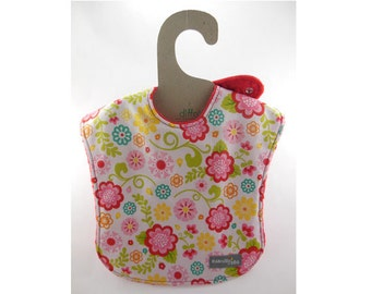 SALE - Frilly Flowers on this leakproof baby bib  (Ready to ship)