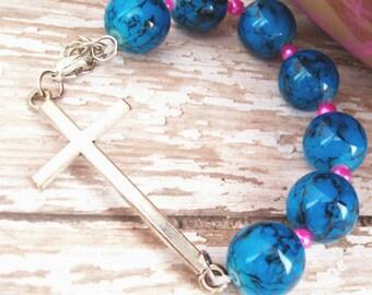 Sideways Cross Bracelet, Christian Jewelry, Christian Bracelet, Cross Bracelet, Cross Jewelry, Silver Sideways Cross