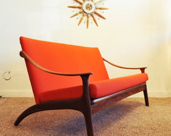 Mid century modern vintage settee in new condition
