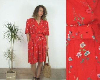 ON SALE 80's vintage women's flower patterned red overall/jumpsuit