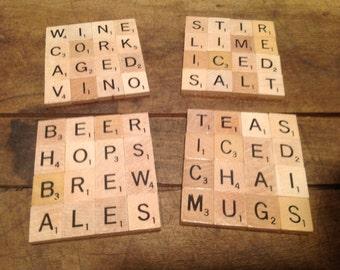 Set of four Scrabble tile Coasters