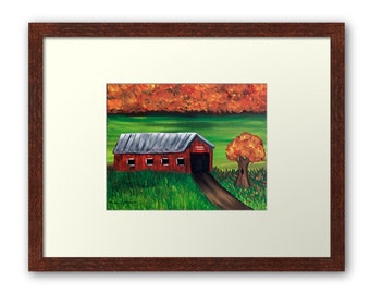 Autumn on the Farm Barn Matted and Framed Art Print