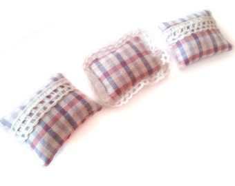 1:12 Set of 3 cute pastel lace and checkered Miniature dollhouse pillows