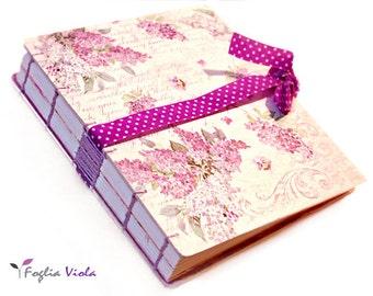 Hydrangea flowers notebook Wedding organizer book enchanted Fairy Dream journal diary garden fairy dream bookbinding pink violet female