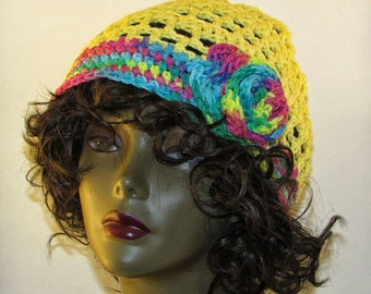 Sun and Rainbow Slouchy Hat with Flower