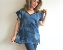 Blue Recycled Top Bleached Top Appliqued Top Boho Chic Top Denim Jeans Upcycled Denim Recycled Tshirt Tunic Denim Top Patchwork Top