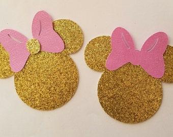 Minnie Mouse, Minnie Mouse Gold & pink, Minnie Mouse decorations, party decorations, Minnie Mouse cake toppers, straws, confetti
