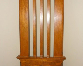 Vintage Wood Wooden Wall Hanging Hat or Cap Peg Rack - Lyre-like Design Repurpopsed