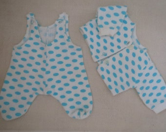 Vintage Baby Doll Set Dots 70s