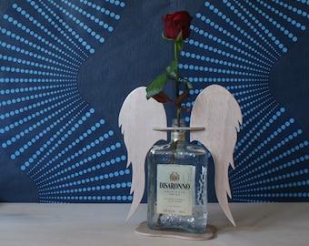 "Upcycled vase ""angelo di Saronno"", Amaretto Disaronno, angel wings"